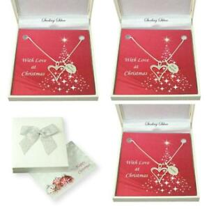 Details About Sterling Silver Heart Necklace Personalised Engraving Christmas Gift Box