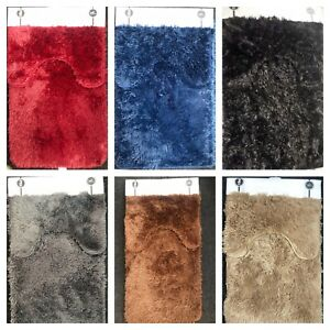 Luxury Bathroom Plush Shaggy Bath Mat Set /& Pedestal Non Slip 2pc Soft Rugs Set