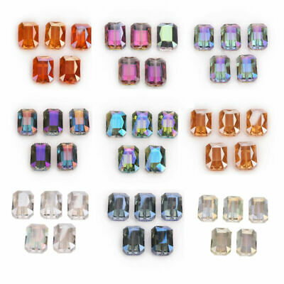 10Pcs 14mm Rectangle Glass Crystal Faceted Charms Loose Spacer Beads DIY Jewelry