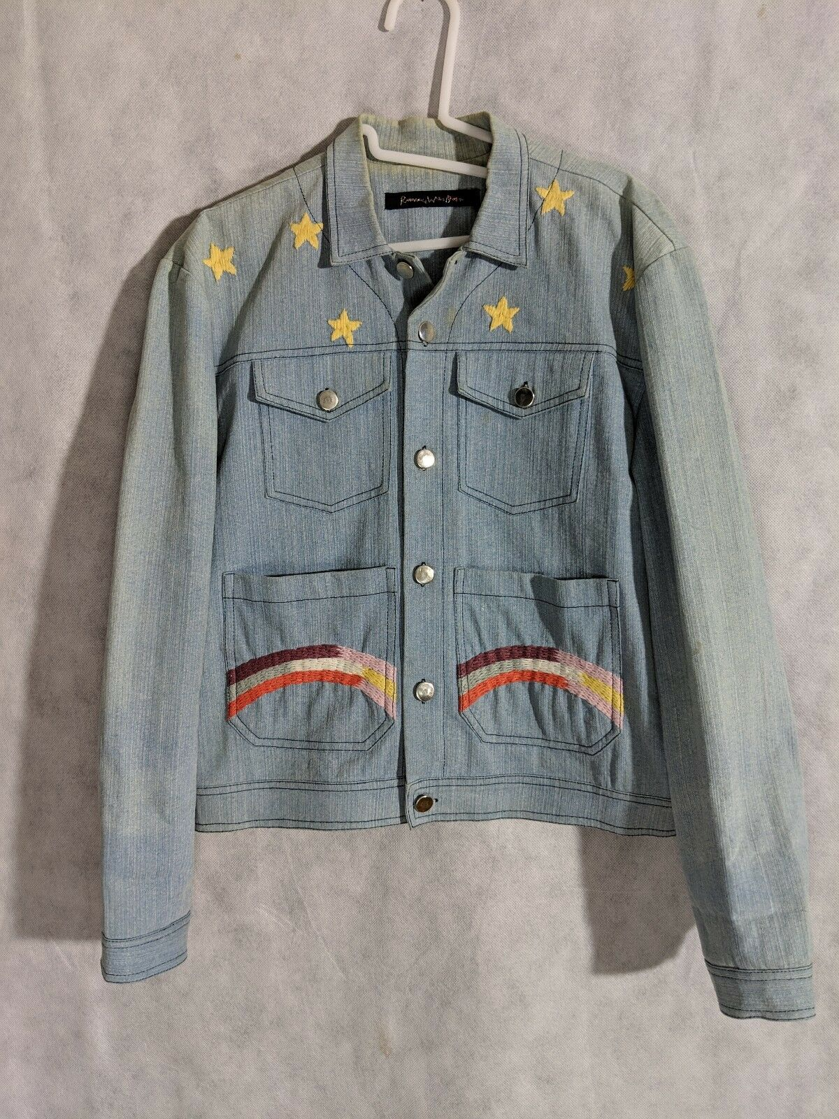 Romance Was Born Rainbow Denim Embroidered Jacket… - image 1