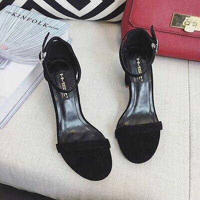 Summer Roman Ankle Strap Buckle Block Open Toe Suede Solid Sandals Women Shoes