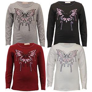 c9c8a6f740b1b1 girls top kids diamante butterfly print t shirt long sleeved party ...