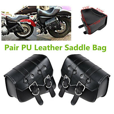 Black PU Leather Right Solo Side Swing Arm Saddle Bag for Harley Sportster XL883 XL1200 1 Pair Left /& Right