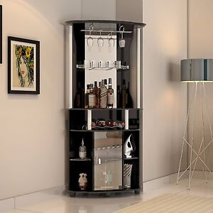 Image Is Loading Corner Liquor Cabinet Home Pub Bar Furniture Wine