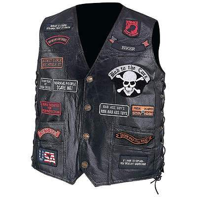 Lot of 30Mens Black Genuine Leather Motorcycle VEST w/ 23 Patches