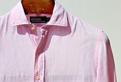 Polo by Ralph Lauren S Gentleman's Pink Lightweight All Linen Long-Sleeved Shirt