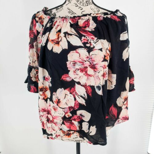 Pink Striped Women Summer Top Dissymmetry Unique Design Blouse Prom Party Dress Floral Flowers Holiday Blouse Small Size