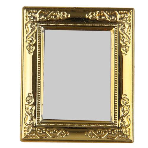 1:12 Dollhouse Golden Square Framed Mirror for Dollhouse Miniature  DEKOR