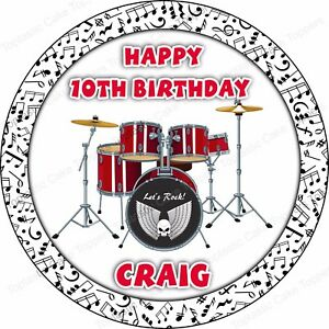 Red Drum Kit Birthday Topper Personalised Icing Cake Topper Drummer Decoration