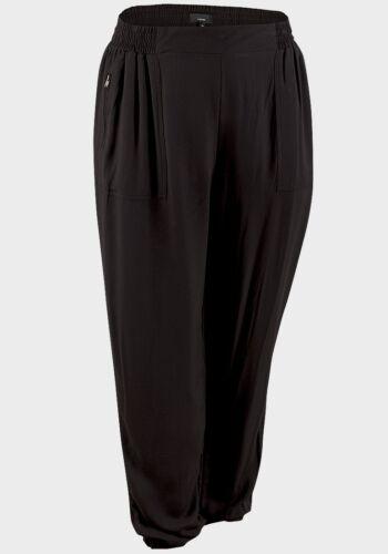 Ladies Womens Plus Size Trousers Elastic Waistband Black Zipped Pockets Pants