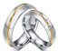 Couple-Rings-Stainless-Steel-silver-based-Gold-line-Promise-wedding-rings-gift 縮圖 1