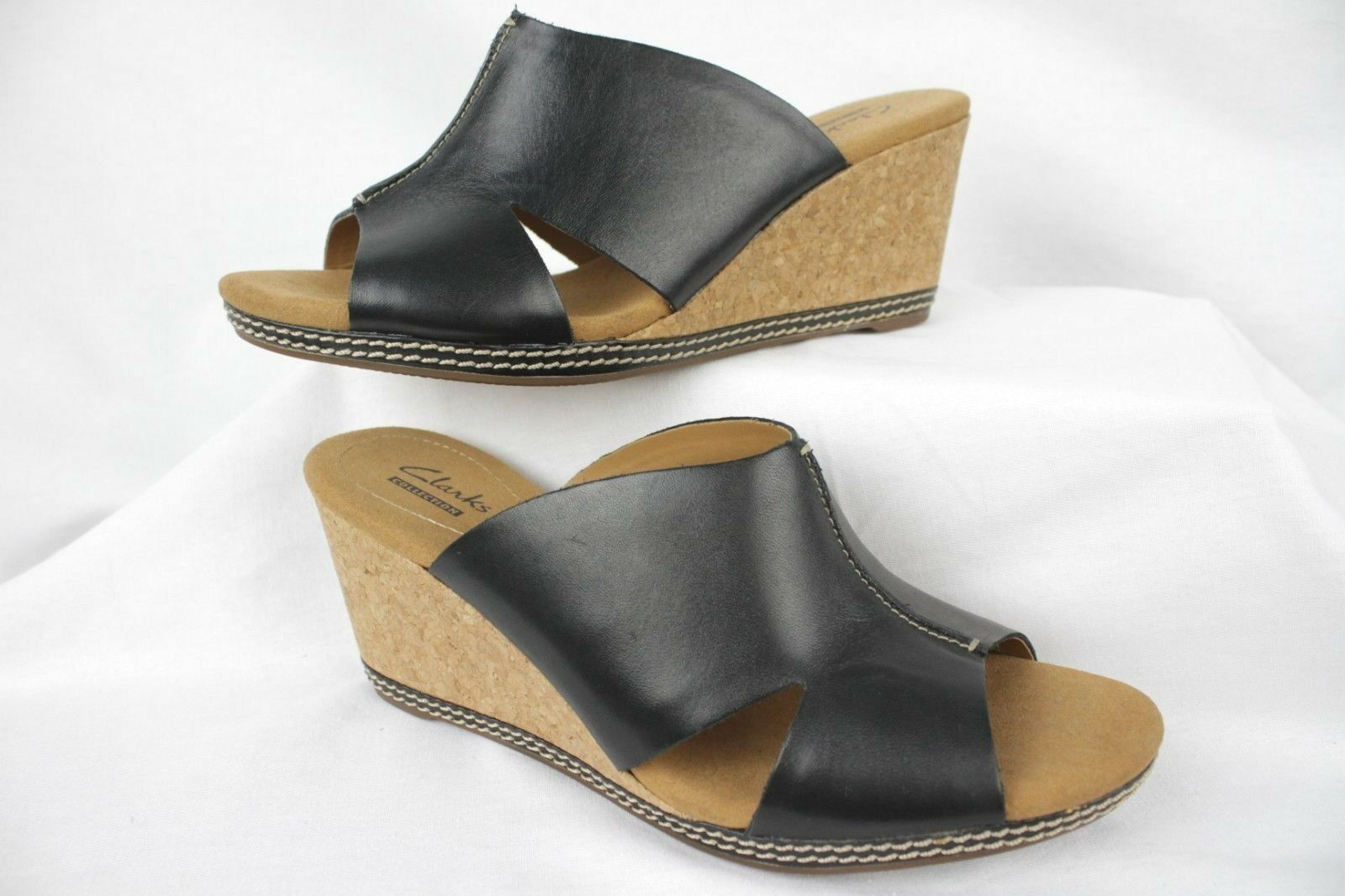 New Clarks Womens Helio Island Sz 10M Black Leather Slip-On Cork Wedge Sandal