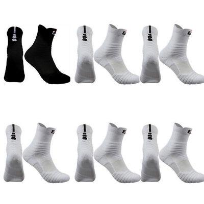 6 Pairs Pro Mens Basketball Socks Cotton Sports Running Black Athletic Socks