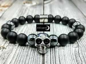 LUXE-8-034-L-STAINLESS-STEEL-SKULL-10mm-Onyx-Hematite-Gemstone-Beaded-Men-039-s-Bracelet
