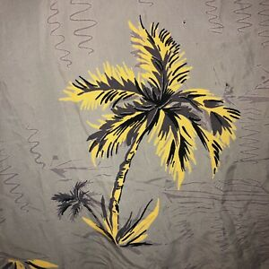 Vintage-1950-039-s-Palm-Tree-nautische-Muster-Seidig-Rayon-Hawaii-Hemd-M