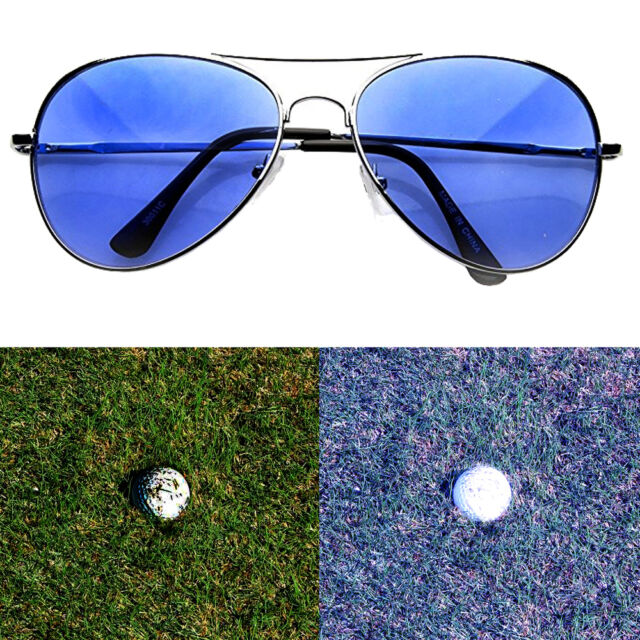 17783cefc2f Golf Ball Finder Glasses Light Blue Lens Less Straining Sunglasses Aviator  Pilot