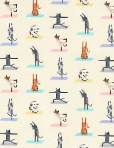 Pet-Fabric-Yoga-Cat-Poses-on-Beige-Timeless-Treasures-YARD
