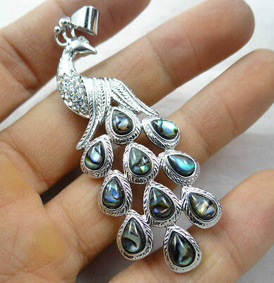 31*18MM Beautiful Abalone Shell  carved the statue of peacock PENDANT  S12