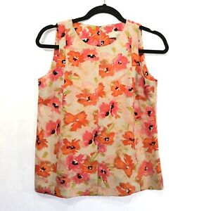 Ann-Taylor-Womens-Tank-Top-Size-Small-Petite-Blouse-Floral-Sleeveless