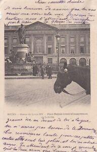 CPA-51-REIMS-Statue-de-Louis-XV-Place-Royale-avant-la-suppression-de-la-Grille