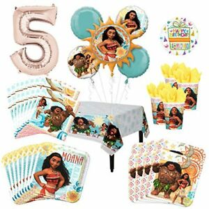 Moana-Party-Supplies-8-Guest-Kit-and-5th-Birthday-Balloon-Bouquet-Decorations