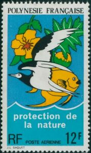 French-Polynesia-1974-Sc-C105-SG186-12f-Protection-of-Nature-FU