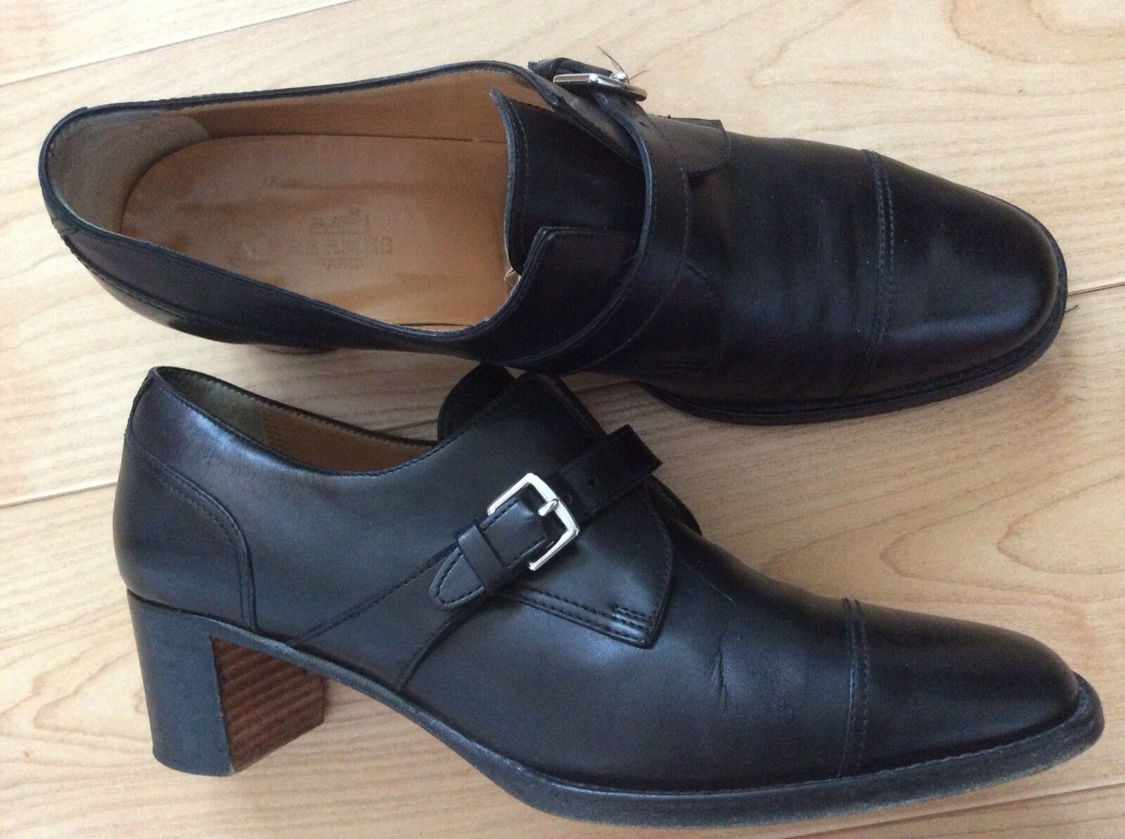 HERMÈS Cap Toe Black Leather Heels shoes With Buckle Size 39.5 Made In