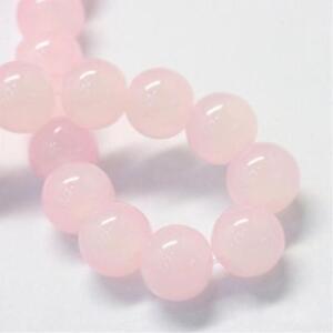 Rosa-Jade-Perlen-10mm-KUGEL-40stk-HALBEDELSTEIN-Schmuck-Design-G222
