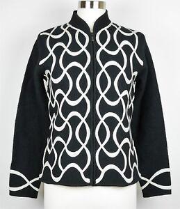 100 Broderet Fuld Zip Sweater M Størrelse Talbots Beige Cardigan Sort uld RIXXwF