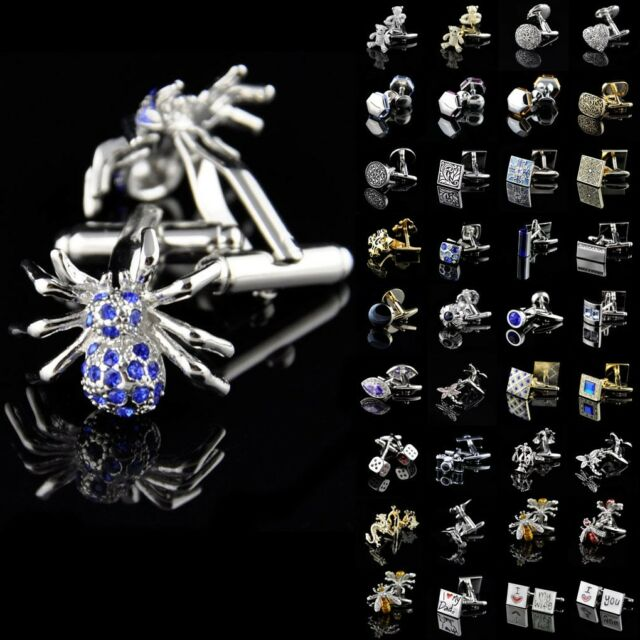 Lot Vintage Stainless Steel Golden Silver Crystal Mens Wedding Novelty Cufflinks