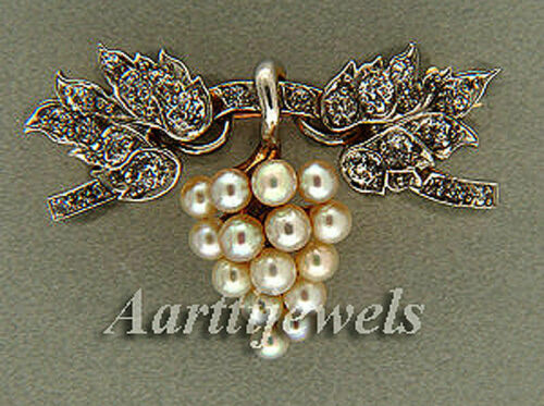 Victorian 0.72ct Rose Cut Diamond Pearl Wedding Brooch Vintage Jewelry ECL