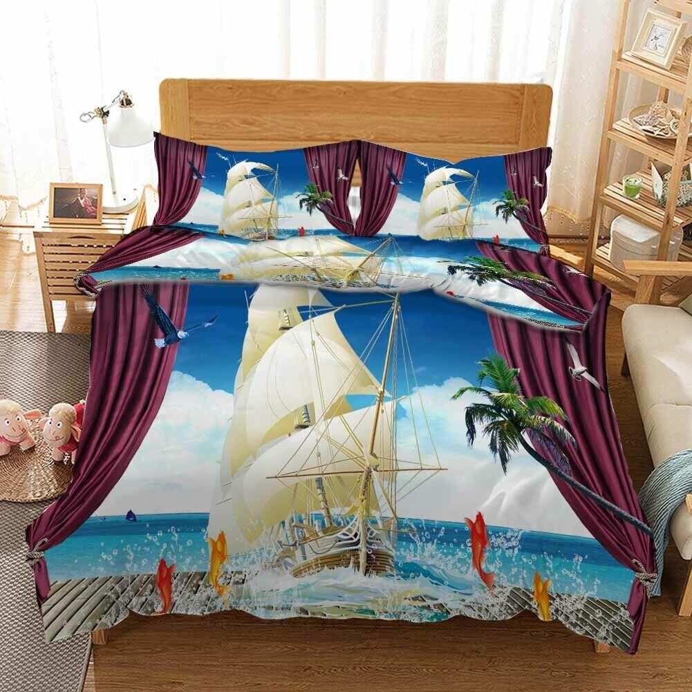 Boat Support Carp 3D Printing Duvet Quilt Doona Covers Pillow Case Bedding Sets