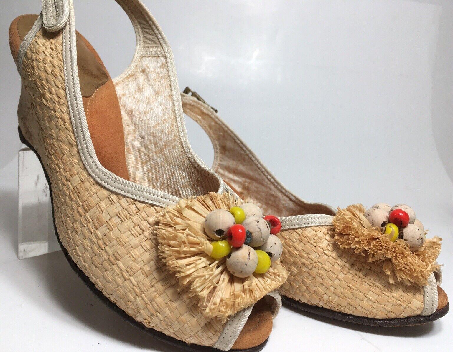 Vintage 40s Shoes Platform CORK Wedge Sandals Str… - image 1