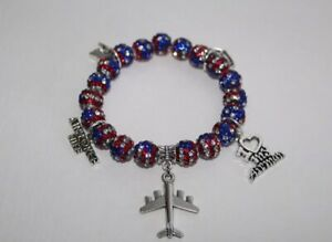 Patriotic-Air-Force-Wife-Charm-Crystal-Bead-Bracelet-Military-Wife-July-4th