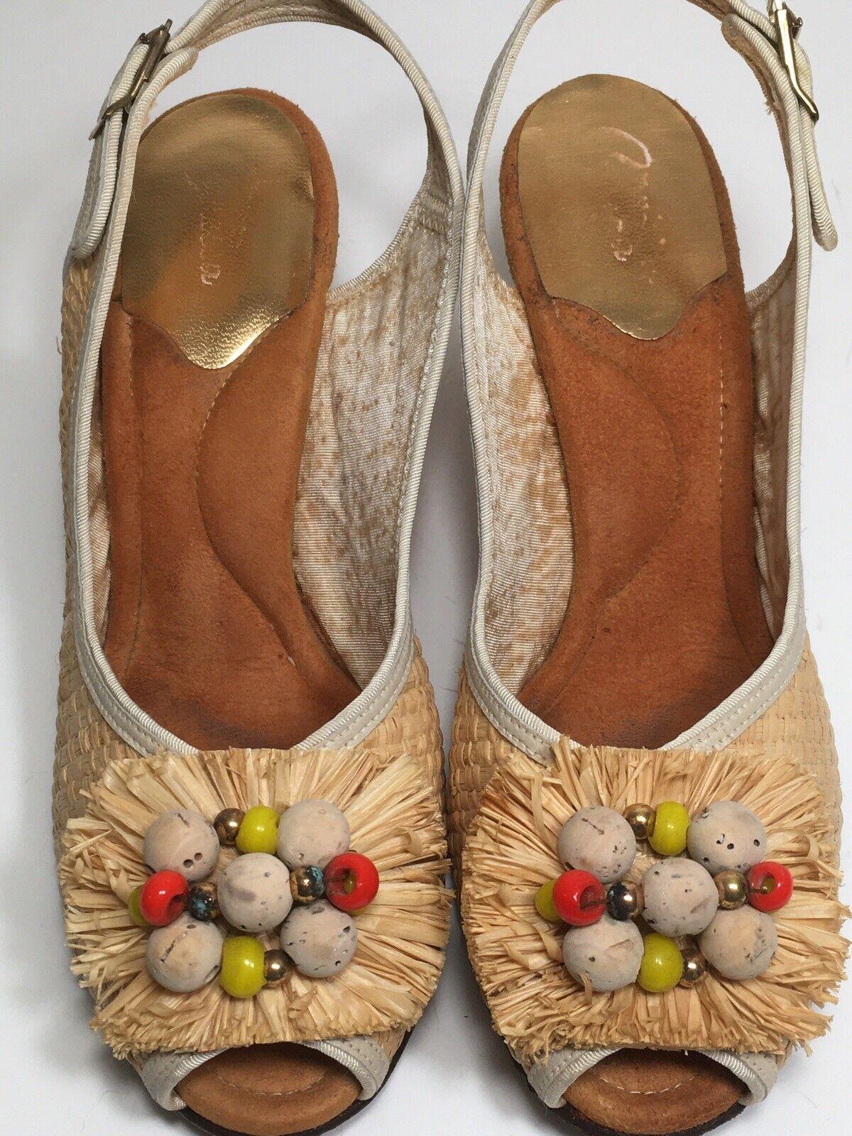 Vintage 40s Shoes Platform CORK Wedge Sandals Str… - image 2