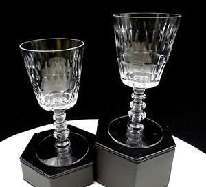 TIFFIN-FRANCISCAN-CRYSTAL-2-PC-17301-CHESTERTON-CUT-5-1-8-034-CLARET-WINE-GLASSES
