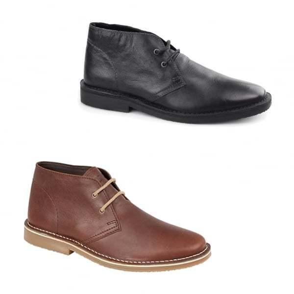 Roamers MAYNARD Mens Plain Leather Casual Stylish 2 Eyelet Lace Up Desert Boots