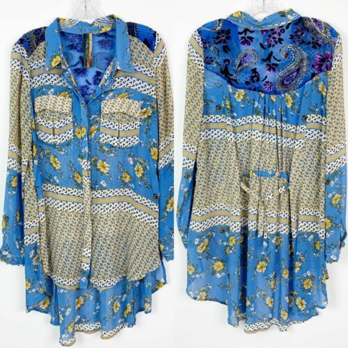 Aratta Silent Journey Women's Blue Floral Sheer Tu