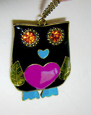 "Black Enamel Owl Necklace Orange  Rhinestone Eyes Pink Heart 35"" Chain Pendant"