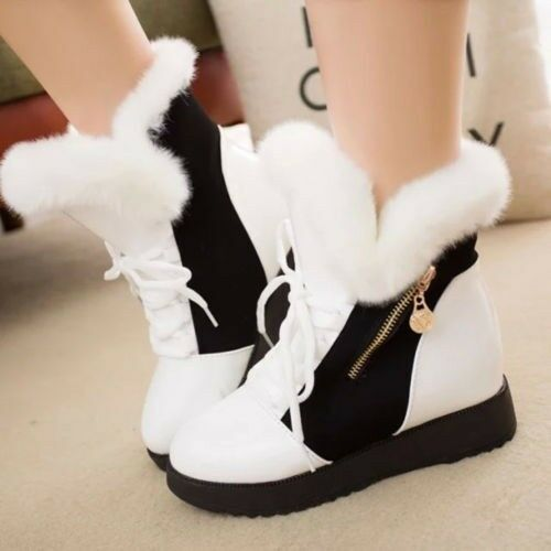 Women Shoes Winter Warm Lace Up Low Heel Mid Calf Ankle Faux Fur Snow Boots