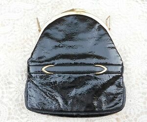 Vintage-BLOCK-Black-Patent-Leather-Bag-Purse-Gold-Tone-Hardware-Made-in-Belgium