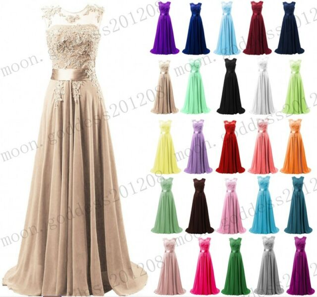 Ladies Lace Formal Evening Party Masquerade Bridesmaid Long Ball Gown Maxi Dress