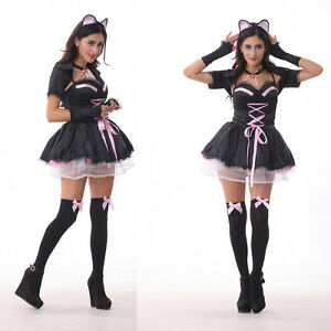 Image is loading French-Maid-Costume-Adult-Womens-Sexy-Halloween-Fancy-  sc 1 st  eBay & French Maid Costume Adult Womens Sexy Halloween Fancy Dress Cat ...