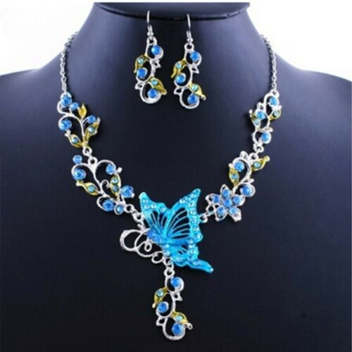 Papillon Strass Fleur Boucles d/'oreilles Collier Bijoux Set Bavoir Déclaration Bridal