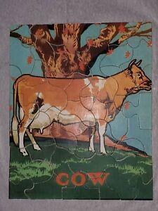 Vintage-1932-COW-Easy-Jigsaw-Puzzle-Saalfield-Pub-Co-Dairy-Old-Farm-Animal