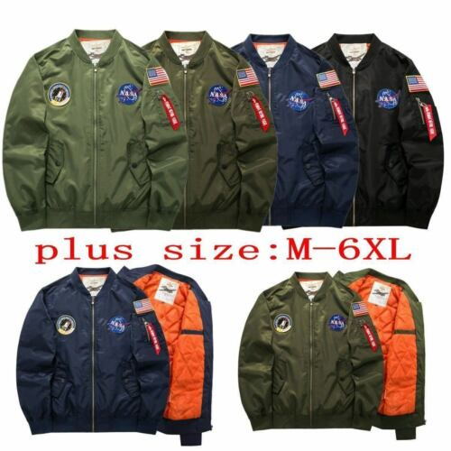 Men/'s Warm Winter US NASA MA1 Flight Bomber Coat Thick Jacket Baseball Outwear*6