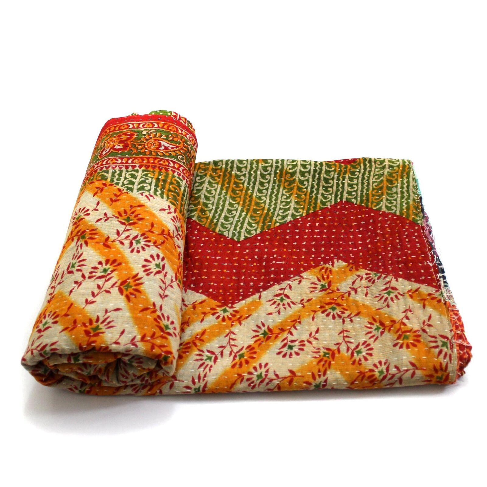 Vintage Kantha Quilt Indian Handmade Cotton Bedspread Sashiko Throw Bedding