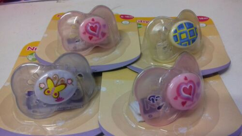4 X Nuby Pastels Soothers 18 Months plus  Bargain girls  colours and pics