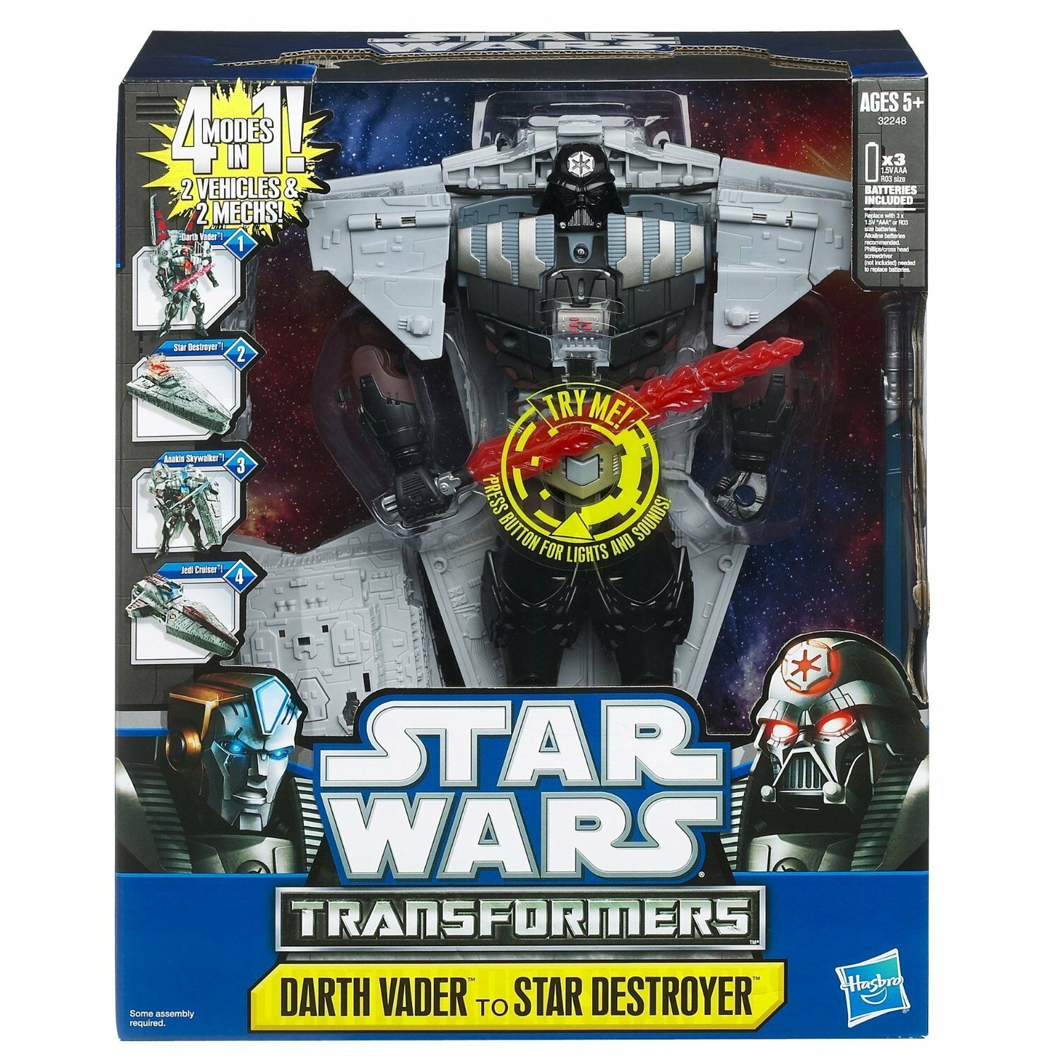 Star Wars Transformers Class III DARTH VADER TO STAR DESTROYER NEW FREE SHIPPING