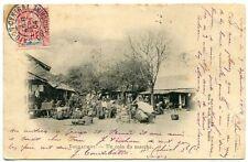 CARTE POSTALE CHINE THUDAUMOT UN COIN DE MARCHE COCHINCHINE CACHET 1904